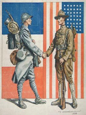 Us Soldier Shaking Hands with a French Soldier, America's Entry into World War One, 1919