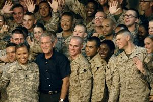 US Soldiers Gather around Pres. George W. Bush at Al Asad AFB, Iraq, Sept. 2007