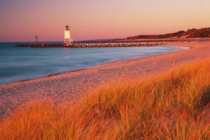 USA Charlevoix Lighthouse and Beach at Sunset