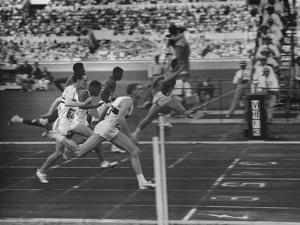 Usa Dave Sime and German Armin Hary at End of Men's 100-Meter Dash