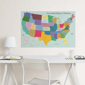 USA Map Coloring Wall Decal