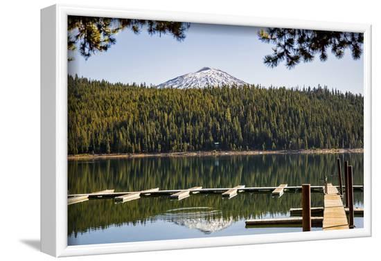 USA, Oregon. Sparks Lake Recreation Area, Elk Lake, docks with Mt. Bachelor.-Alison Jones-Framed Photographic Print