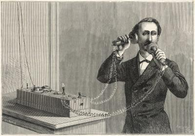 Using Bell's Original Telephone Apparatus