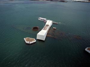 USS Arizona Memorial Rests on the Actual Battleship Sunk in Pearl Harbor, 1991