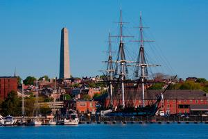 USS Constitution historic ship, Old Ironsides a Three Masted Frigit, is seen near Bunker Hill Mo...
