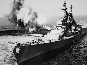 USS Missouri Firing 16-Inch Salvo at Chong Jim, Korea, on 21st September 1950