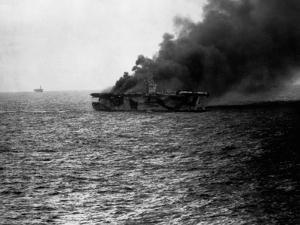 USS St Lo (Cve-63) Burning after Being Hit by Japanese Suicide Plane, Leyte Gulf, Phillipines. Clos