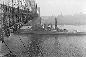 USS West Virgina Passing under Brooklyn Bridge
