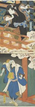 Nakamura Utaemon II as Ishikawa Goemon, Mimasu Daigoro IV as Mashiba Hisayoshi by Utagawa Hirosada