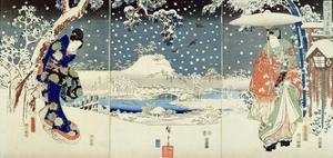 Snow Scene in the Garden of a Daimyo by Utagawa Hiroshige and Kunisada