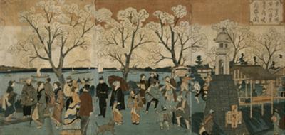 Cherry Blossoms in Full Bloom Along Sumida River (Bokusui Tsutsumi Hanazakari No Z) by Utagawa Hiroshige