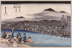 Cool of the Evening at Shijo Riverbed', from the Series 'Famous Places of Kyoto' by Utagawa Hiroshige
