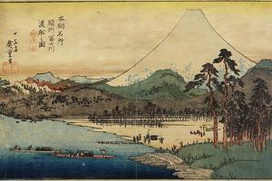 Ferry Boats at Fuji River in Sunshu Province, C. 1832-1839 by Utagawa Hiroshige