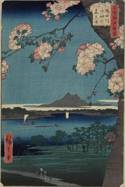 Forest of Suijin Shrine and Masaki on the Sumida River, August 1856 by Utagawa Hiroshige