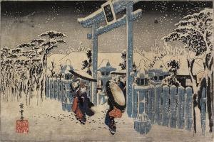 Gion Shrine in Snow, C. 1834 by Utagawa Hiroshige