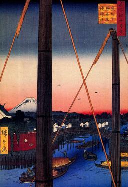 Utagawa Hiroshige Inari Bridge and Minato Shrine