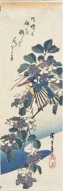 Kingfisher and Hydrangea by Utagawa Hiroshige