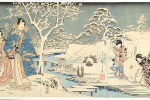 An Eastern Genji in a Snowy Garden, 1854 by Utagawa Hiroshige & Kunisada