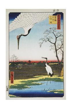 Mikawa Island, Kanasugi, and Minowa (One Hundred Famous Views of Ed), 1856-1858 by Utagawa Hiroshige