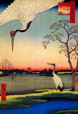Utagawa Hiroshige Mikawashima Crane