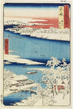 Morning after Snow at Sumida River in Musashi Province, August 1853 by Utagawa Hiroshige