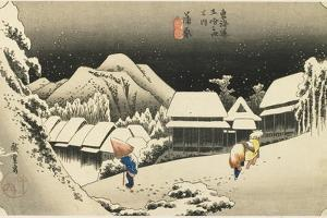 Night Snow at Kanbara, C. 1833 by Utagawa Hiroshige