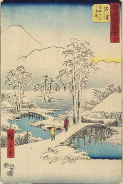 No.13 Mount Fuji Seen over Mount Ashigara, Numazu, July 1855 by Utagawa Hiroshige