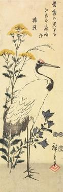 Patrinia, Chinese Bellflower and a Crane, March 1853 by Utagawa Hiroshige