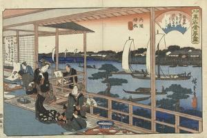 Restaurant Kawachiya in Yanagibashi by Utagawa Hiroshige