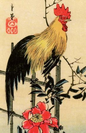 Rooster on Trellis for Climbing Rose, 1854 by Utagawa Hiroshige