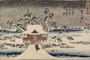 Snow at Benzaiten Shrine in the Pond of Inokashira, 1843-1847 by Utagawa Hiroshige