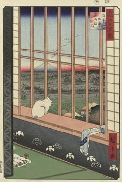 Temple Procession to Torinomachi in the Rice Fields of Asakusa, 1857 by Utagawa Hiroshige