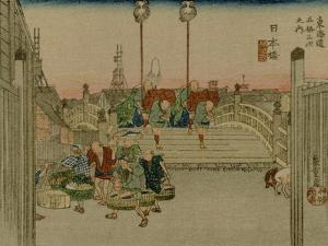 The Bridge Nihonbashi in Tokyo with Merchants Who Were Carrying Them by Utagawa Hiroshige