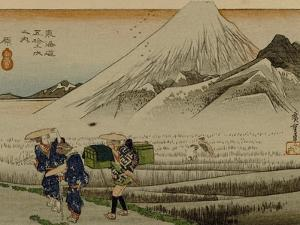 Two Women and a Servant Walk Through Rice Fields, with Mount Fuji in the Background by Utagawa Hiroshige