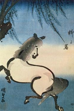 A Horse Galloping under a Willow Tree by Utagawa Kunisada
