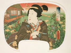Autumn, Hanayashiki: a Geisha with a Pipe by Utagawa Kunisada