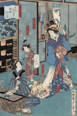 Geisha with Hibachi by Utagawa Kunisada II