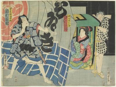 Ichikawa Kakitsu and Sawamura Noshi in the Kabuki Play Suibo Daigo Do_No Nozarashi, December 1865