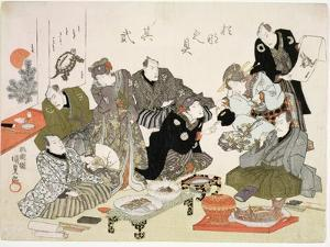 P.61-1938 Painting and Calligraphy Party at the Manpachiro Teahouse by Utagawa Kunisada