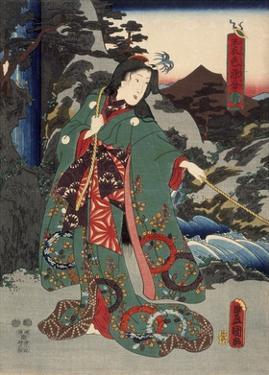 Costumes in Five Different Colors - Green (Ao) by Utagawa Kunisada (Toyokuni III)