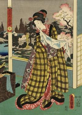 Costumes in Five Different Colors - Yellow (Ki) by Utagawa Kunisada (Toyokuni III)