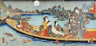 Triptych Depicting a Prince, Princess and Court Ladies Boating on a Garden Pond under a Full Moon…