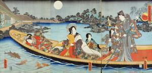 Triptych Depicting a Prince, Princess and Court Ladies Boating on a Garden Pond under a Full Moon… by Utagawa Kunisada
