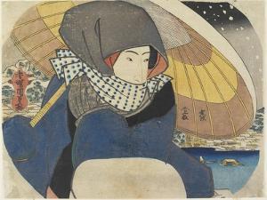 Woman Wearing Hood with Umbrella, 1818 by Utagawa Kunisada