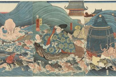 Dragon God Rewarding Hidesato with Three Gifts, April 1858