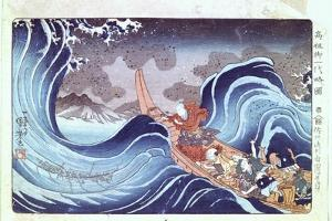 Nichiren Calming the Storm, 19th Century by Utagawa Kuniyoshi