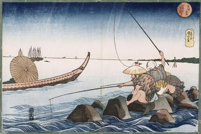 Three Anglers Fishing at Teppozu', from the Series 'Famous Places of the Eastern Capital'