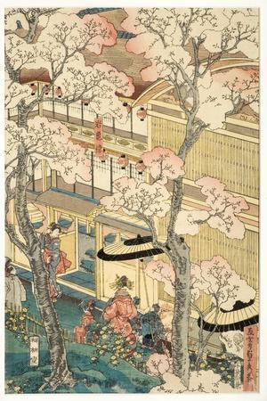 True View of the Pleasure Houses of Miyosaki at the New Port, Yokohama, Kanagawa, 1860