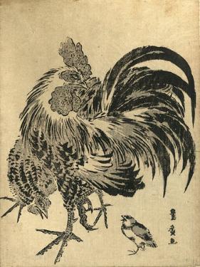 Niwatori, Hen and Chick. [Between 1804 and 1818], 1 Print : Woodcut, Color ; 22.1 X 17 by Utagawa Toyohiro