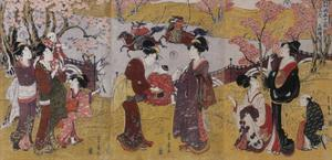 The Third Month, Triptych (From the Series Twelve Months by Two by Utagawa Toyohiro
